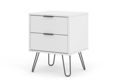 Augusta 2 Drawer Contemporary White Bedside Cabinet with Metal Legs